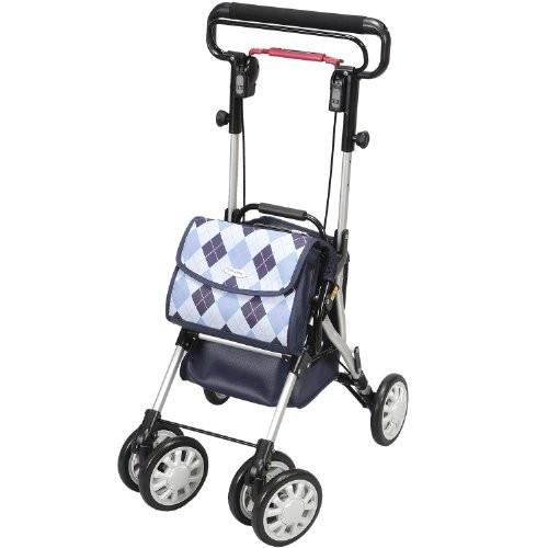 自立歩行が可能な方の歩行補助折りたたみ式 座れる歩行器 シルバーカーウイングライト (ユーバ産業) WL-0248ブルー色
