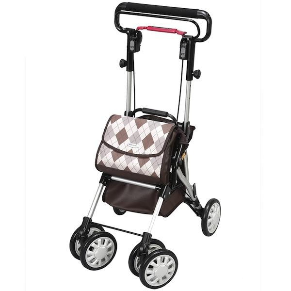 自立歩行が可能な方の歩行補助折りたたみ式 座れる歩行器 シルバーカーウイングライト (ユーバ産業) WL-0248ブラウン色