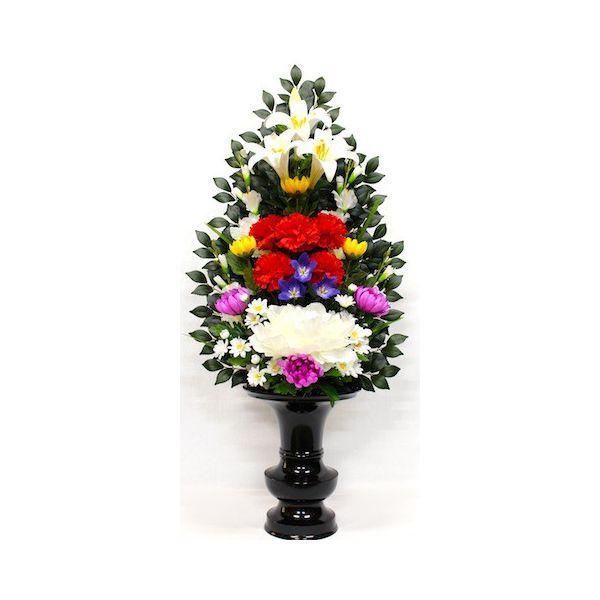 造花 お供花 仏花 お供え花 仏壇花 お仏壇用に びしゃく付き 花添B 1本 K-0104 水上約75cm