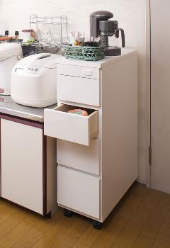 スリムキッチンカウンター 幅25cm薄型 カウンター幅25cm  日本製シンク横 チェストSA-0002