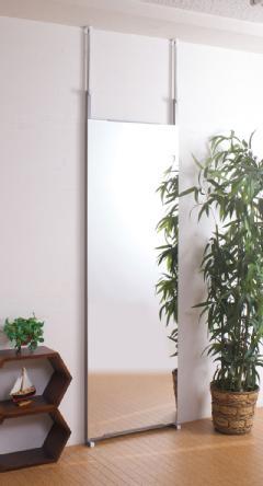 壁面ミラー 幅60cm日本製 突っ張りつっぱり式 鏡 姿見スタンドミラーNJ-0007