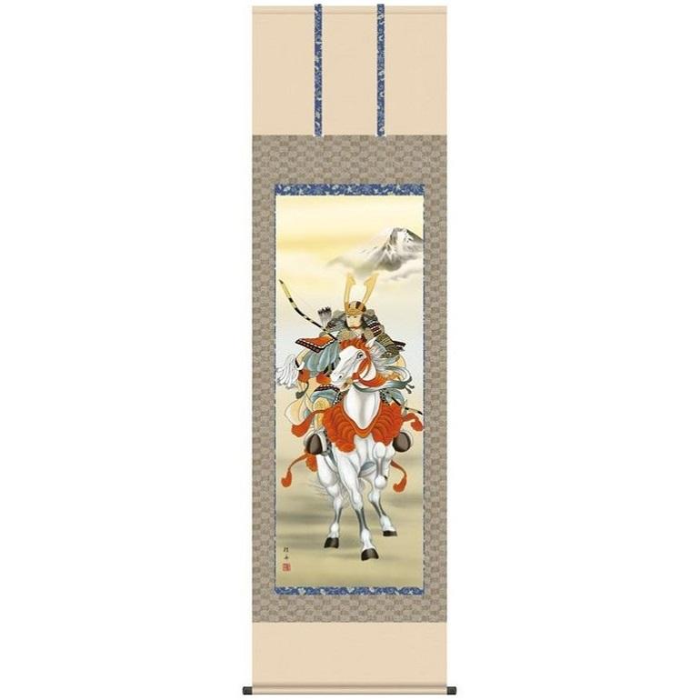 こどもの日 端午の節句 掛け軸 「白馬武者」 作:長江桂舟 (正絹緞子本表装・尺五サイズ・54.5×190cm) KZ2F2-074 (インテリア掛け軸)