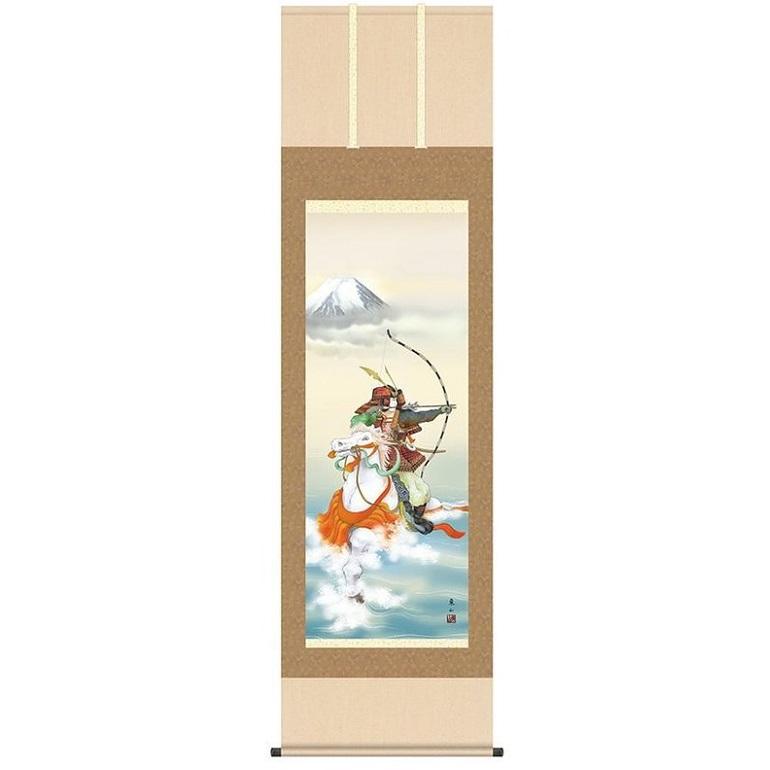 こどもの日 端午の節句 掛け軸 「波上武者」 作:榎本東山 (洛彩緞子本表装・尺五サイズ・54.5×190cm) KZ2F2-071 (インテリア掛け軸)
