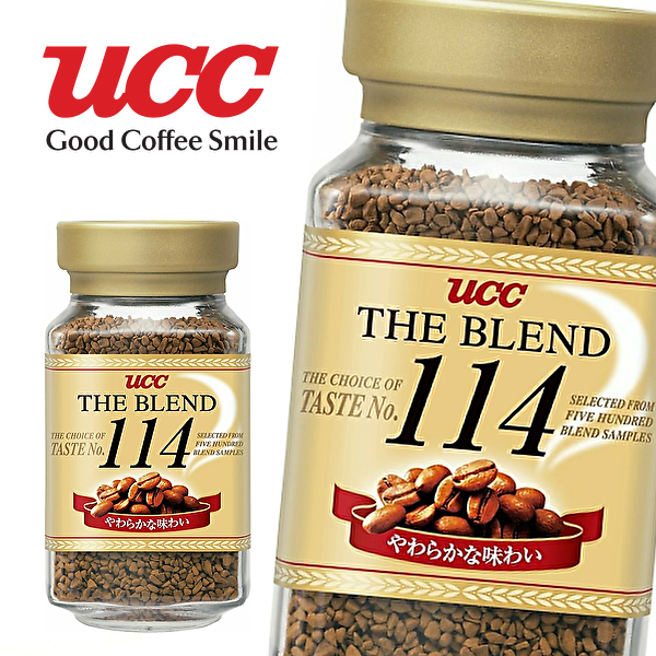 3ケースまで1個口の送料 UCC ザ ブレンド 114 90g 12本 THE 正規品送料無料 BLEND やわらかな味わい インスタントコーヒー 90g瓶×12本入 コーヒー豆 ケース 上島珈琲 瓶 ユーシーシー ストア