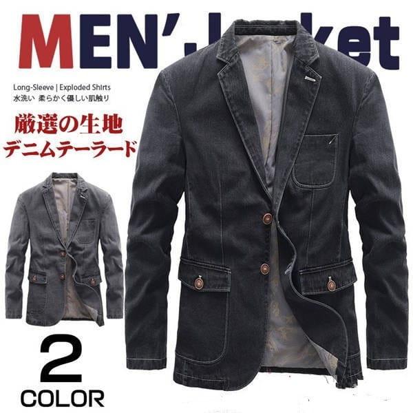 デニムテーラードジャケット 新作からSALEアイテム等お得な商品満載 メンズ ブレザー 2ボタン カジュアル 海外 アウター スタイリッシュ 紳士服 デニムジャケット