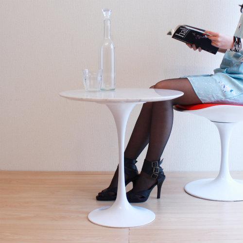 【大理石使用】【デザイナー:エーロ・サ-リネン】商品名:Tulip Side Table(チューリップ サイドテーブル)【リプロダクト/復刻版】【カフェテーブル】【大理石】【テーブル】【デザイナーズ家具】