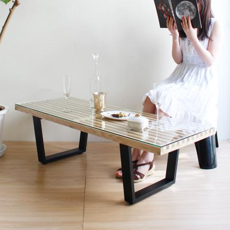 【デザイナー:ジョージ・ネルソン】商品名:Nelson Platform Bench(ネルソンベンチ)幅122cm・ガラスセット【リプロダクト・ジェネリック・復刻版】【テーブル】【ガラス天板】【テレビ台】【ローボード】【】【通販】