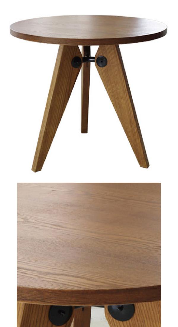 【デザイナー:ジャン・プルーヴェ】 商品名:GUERIDON (ゲリドン・ダイニングテーブル)サークル【リプロダクト/復刻版】【ソルベイ】【スタンダードチェア】【デスク】【木製】【デザイナーズ】【丸天板】【】【通販】