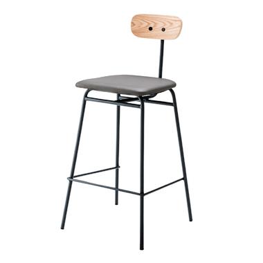 小さな背もたれに愛嬌があるハイチェアです フレームは最小限の構造なので無駄がなく様々なカフェやBARでご利用いただけます 商品名:SPRUCE ハイチェア ソフトレザー 合板 日時指定 椅子 カウンター バー BAR 背もたれ 木目調 グレー 新着セール ブラック SPLC レッド カフェ 喫茶店 スチール 511