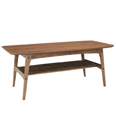 商品名:NORDIC コーヒーテーブル(L)【ローテーブル 】【木製テーブル】【棚板付き】【STAC】【丸脚】【北欧風】【ブラウン】【ウォールナット】【】【お洒落】【228】