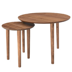 商品名:NORDIC ネストテーブル【木製テーブル】【サイドテーブル】【224】【丸テーブル】【大小2個セット】【STAC】【丸型】【ウォールナット】【ブラウン】【北欧】【ベッドサイドテーブル】