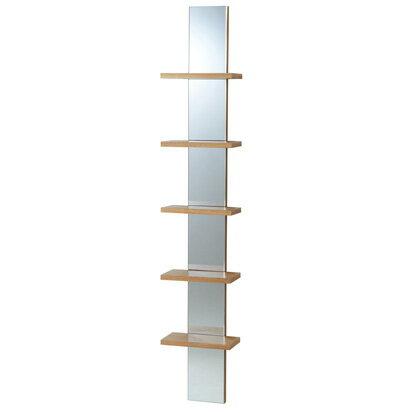 【ホッチキスで取付☆】【送料無料】商品名:Wall Mirror 5段シェルフ【壁掛棚】【ラック】【鏡】【壁掛フック】【tokubai0525】