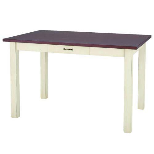 商品名:FRENCH ダイニングテーブル-L【ダイニングテーブル】【木製】【BCY】【ホワイト】【ブラウン】【113】【引き出し付き】【4人】【】【通販】