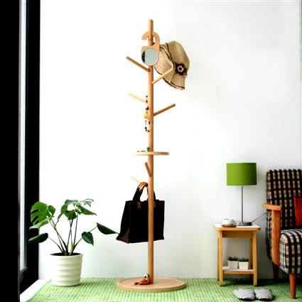 商品名:TREE コートハンガー(鏡付き)【ハンガー】【木製】【コートハンガー】【デザイン】【お洒落】【人気商品】【鏡】【ミラー】【ナチュラル】【ホワイト】【】【通販】