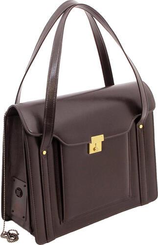 【ひったくり対策バッグ】映画「紙の月」宮沢りえさんが着用S-600B 防犯ブザー付 渉外鞄レディースビジネスバッグ 被せ式ブリーフケース 豊岡製