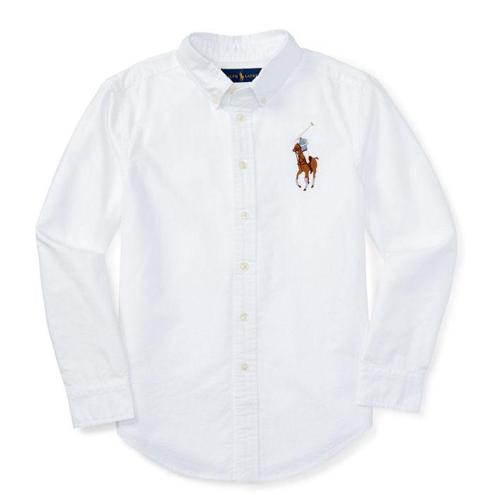 POLO RALPH LAUREN(ポロ ラルフローレン) 長袖ビッグポニーボタンダウンシャツ(White)【3T】BigPony