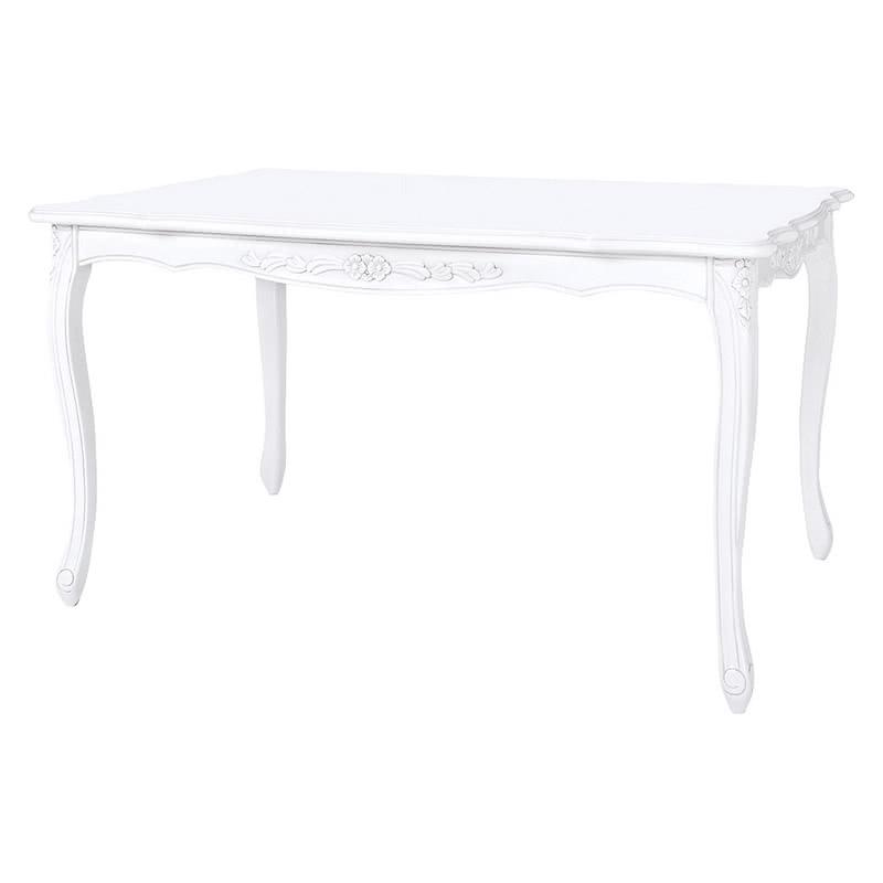 ダイニングテーブル(テーブルのみ) 幅150 装飾 彫刻 猫脚 テーブル エレガント ヨーロピアン ロココ調 家具 アンティーク 高級家具 ホワイト 白 天然木 SA-C-1174WH-150