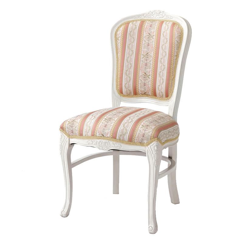 ダイニングチェア 1脚 装飾 彫刻 猫脚 椅子 エレガント ヨーロピアン ロココ調 家具 アンティーク 高級家具 ホワイト 白 天然木 SA-C-1175-WH5