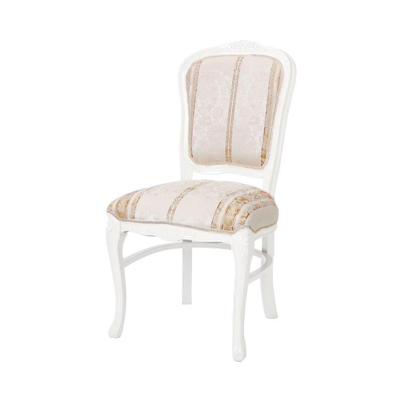 ダイニングチェア 1脚 装飾 彫刻 猫脚 椅子 エレガント ヨーロピアン ロココ調 家具 アンティーク調 ロマンチック プリンセス家具 高級家具 ホワイト 白 天然木 SA-C-1175-WH4