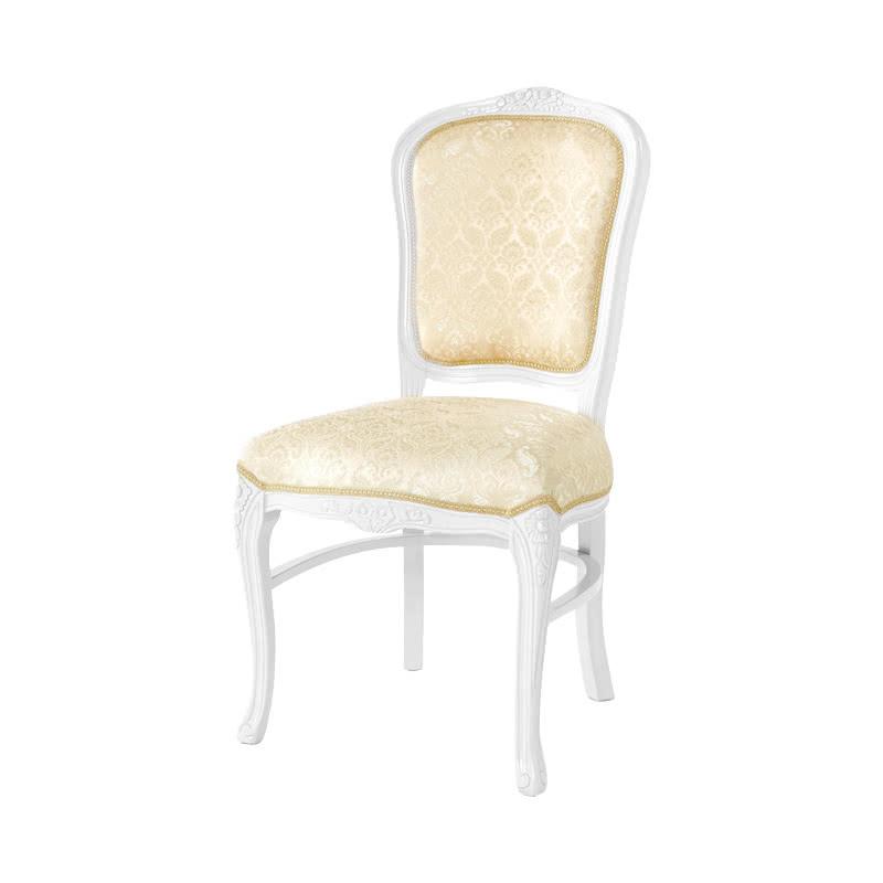 ダイニングチェア 1脚 装飾 彫刻 猫脚 椅子 エレガント ヨーロピアン ロココ調 家具 アンティーク 調 ロマンチック 高級家具 ホワイト 白 天然木 SA-C-1175-WH6