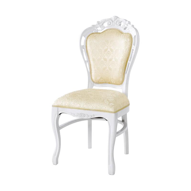 ダイニングチェア 1脚 装飾 彫刻 猫脚 椅子 エレガント ヨーロピアン ロココ調 家具 アンティーク 高級家具 ホワイト 白 天然木 SA-C-1734-WH6