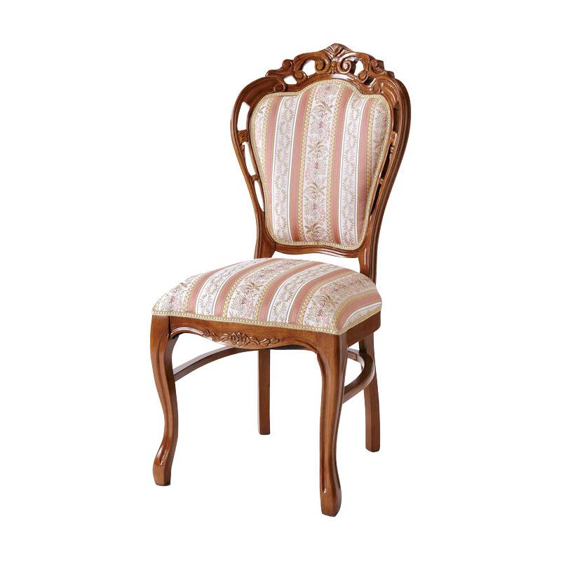 ダイニングチェア 1脚 装飾 彫刻 猫脚 椅子 エレガント ヨーロピアン ロココ調 家具 アンティーク 高級家具 ブラウン 茶 天然木 SA-C-1734-B5