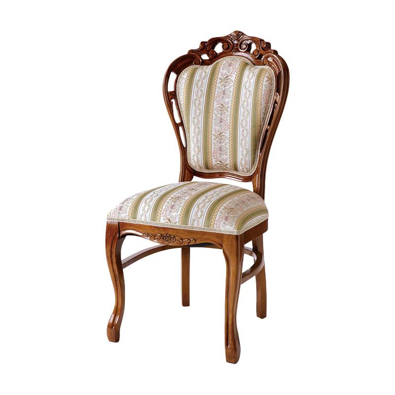 ダイニングチェア 1脚 装飾 彫刻 猫脚 椅子 エレガント ヨーロピアン ロココ調 家具 アンティーク 高級家具 ブラウン 茶 天然木 SA-C-1734-B1