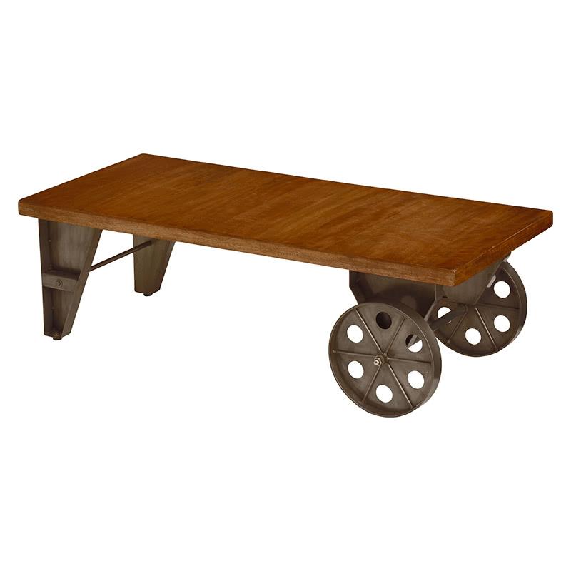 デザインテーブル 幅110 車輪 マンゴーウッド スタイリッシュ アイアンとマンゴー木材を組み合わせたスタイリッシュなデザインテーブル テーブル ローテーブル トロリーテーブル RT-2941 RT-2941