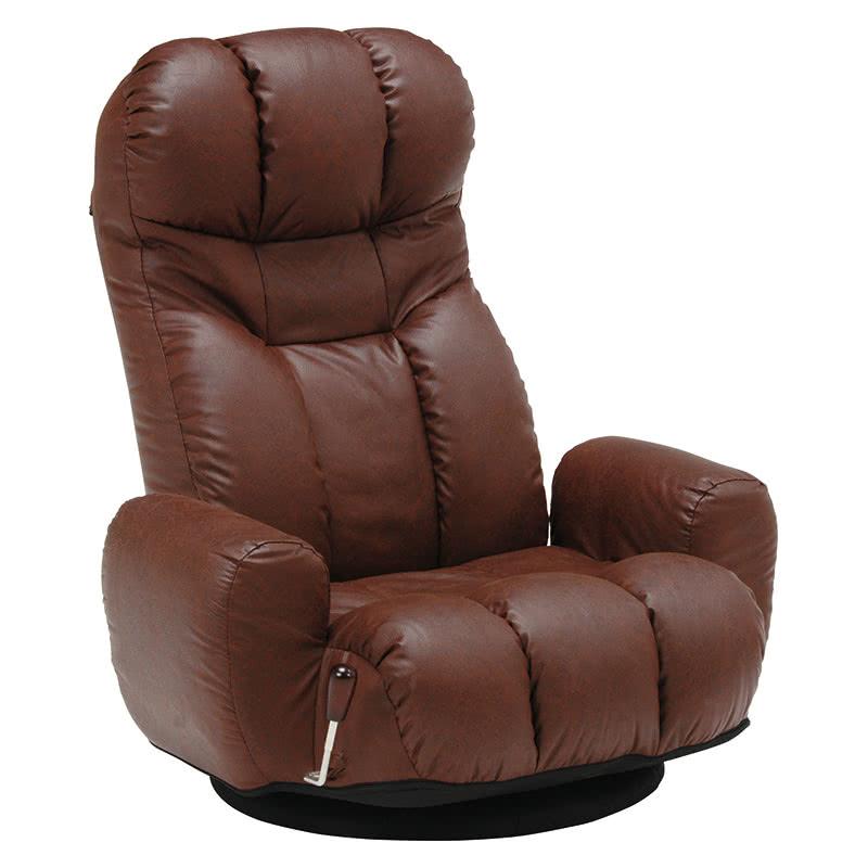 座椅子 幅75 回転 合皮 幅61 座いす リクライニング アームレスト 角度自在 レザー調 座イス ブラウン 茶 おしゃれ チェアー 椅子 くつろぎ 新生活 敬老の日 父の日 贈り物 LZ-4271DBR