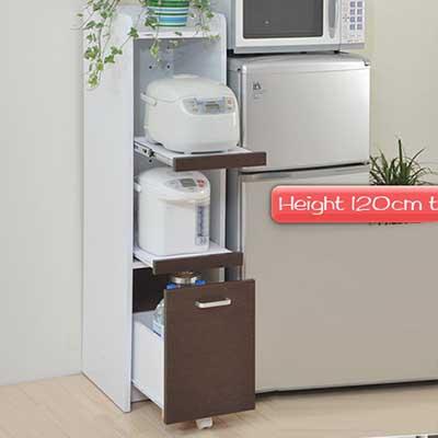 すきま収納 すき間収納 隙間収納 幅32.5cm 高さ124cm キッチン 収納 スリムラック キッチンラック サイドラック 一人暮らし ワンルーム ひとり暮らし キャスター付き隙間ミニキッチン スライドレール 隙間ミニキッチン H120