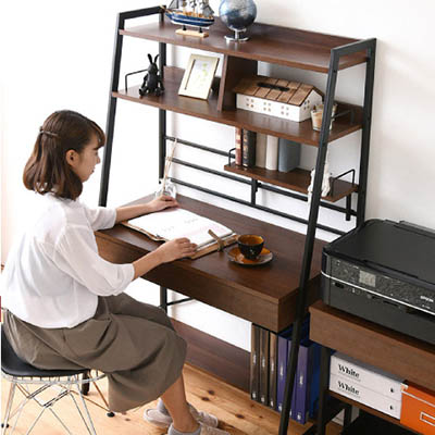 2WAY パソコンデスク 上部収納 幅 90cm 高さ調節 多機能デスク 木製 本棚付き ワーキングデスク パーソナルデスク シェルフデスク KKS-0014