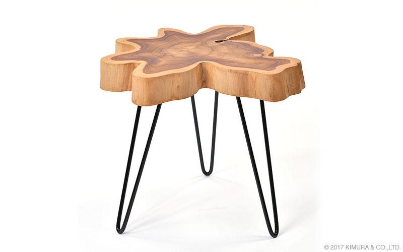 チーク無垢材 サイドテーブル 花台 木製