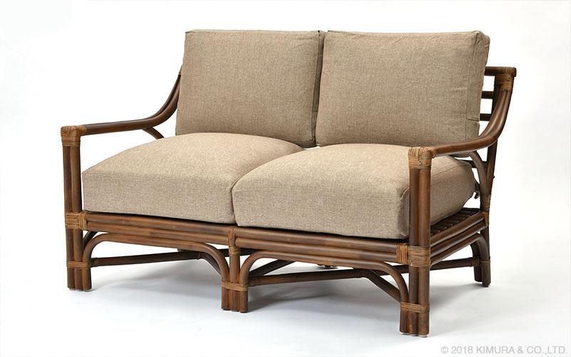 ラタン×ヨーロッパリゾート 2人掛ソファ 籐家具 インテリア イス 椅子 チェア