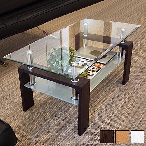 ガラステーブル センターテーブル 幅96cm約100cm おしゃれセンターテーブル 頑丈8mm強化ガラス ホワイト茶ブラウン 強い丈夫 リビングテーブル モダン 収納 棚付き 木製/通販/ 新生活
