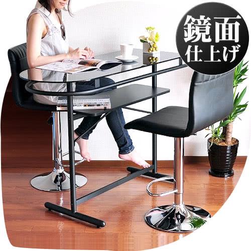 ガラスカウンターボード ハイテーブル モダン 鏡面 対面カウンター ブラック黒 幅114.5約120cm 高さ86.5約90cm ホームバー 強化ガラス天板 カウンターテーブル barカウンター風 PHW-1145 薄型 通販