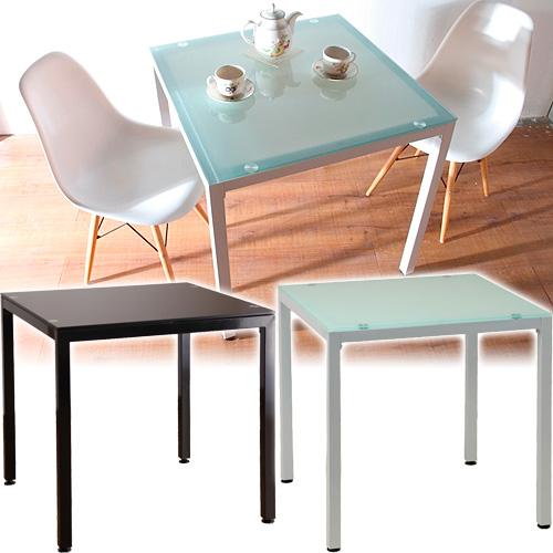 スタイリッシュ ガラステーブル 幅75cm ダイニングテーブル 7575 ミストガラス白ホワイト黒ブラック モダンテーブル デザイン AWL1001705シンプル 新生活