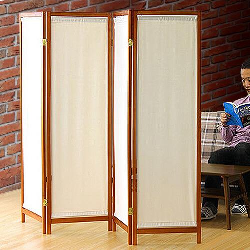 木製スクリーン(帆布)4連 4面 4連 帆布 パーテーション おしゃれ アンティーク 衝立 間仕切り アジアン ロー パーティション スクリーン ついたて パーティション 木製 自立 店舗用 薄型/木製/テイスト//通販 新生活