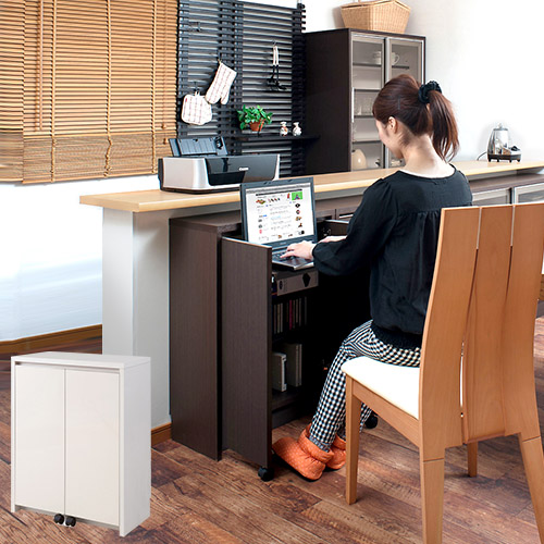 日本製 完成品カウンター下収納 多目的デスク 幅60 高さ84.5ダイニング 窓下収納 カウンター下デスク リビングデスク コンパクト 省スペース シンプル