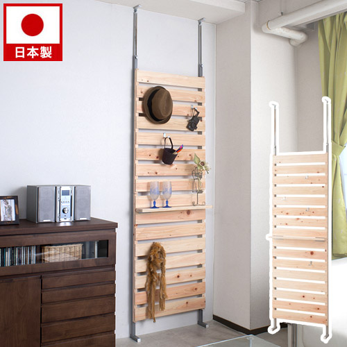 ヒノキ使用 突っ張りウォールラック 幅60cm 突っ張りラック ルンバブル ウォールシェルフ 壁掛け収納 壁いっぱいに飾って収納 飾り棚 ラダーラック フック付き 日本製 ナチュラル 木製