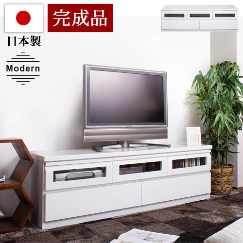テレビ台 日本製 テレビボード 白 ホワイト 幅150 完成品 スタイリッシュ TVボード 鏡面 おしゃれ 機能的 ガラス扉 収納 防塵 配線収納 液晶 52 50V型 49V 42v 光沢 艶仕上げ 薄型 国内生産 国産