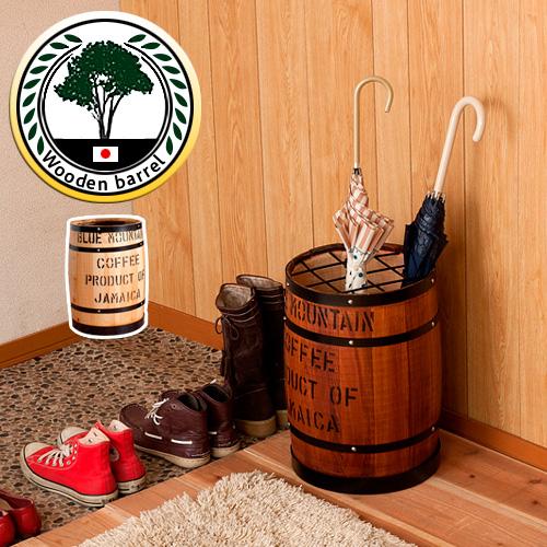 樽型 傘立て 木樽 高さ43.5cm 傘置き 傘スタンド コーヒー樽 国産ヒノキ製 おしゃれ 玄関 木製 天然木 バレル 収納 カントリー調かさたて 傘たて アメリカン雑貨 木製 天然木 西海岸 マリン風