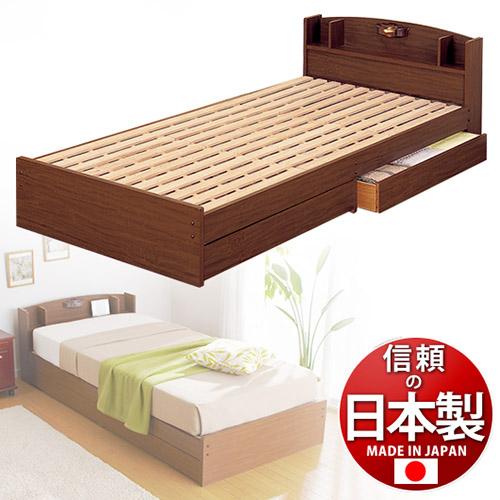 すのこベッド シングル ロングベッド 【SB14215】通気性抜群 棚付き 引き出し引出し付き 国産日本製シングルベッドベット寝具 新生活
