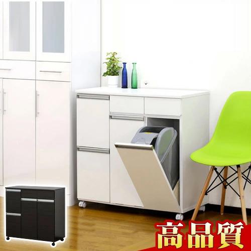 高品質4分別ゴミ箱 ダイニングダストボックス4D ホワイト ブラウン 収納家具のような台所用ごみ箱 家具調 スタイリッシュなゴミ箱 キッチン ゴミ分別 キャスターはストッパー付き 新生活