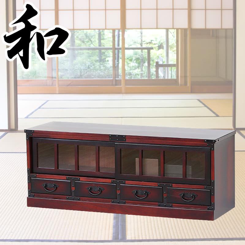 和風モダン 幅100cm 茶色 民芸調 工芸品 和風たんす テレビ台 ローボード 和風【SB64805】