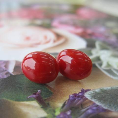 高知産血赤珊瑚のオーバルピアス(10.2×8.2ミリ)/K18/さんご/オススメ/『宝石サンゴ』