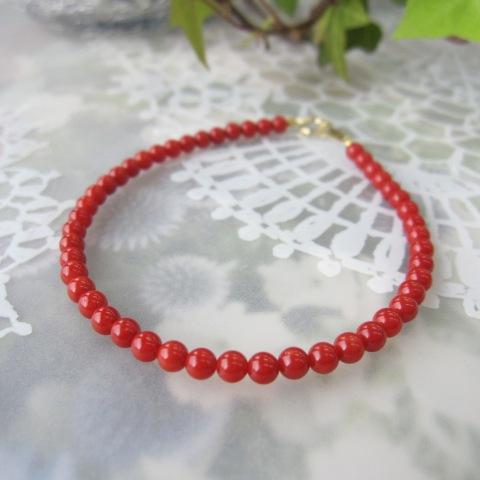 美しいイタリア産赤珊瑚のブレスレット(約3.5ミリ玉)K18/サルジ/古渡/さんご・サンゴ