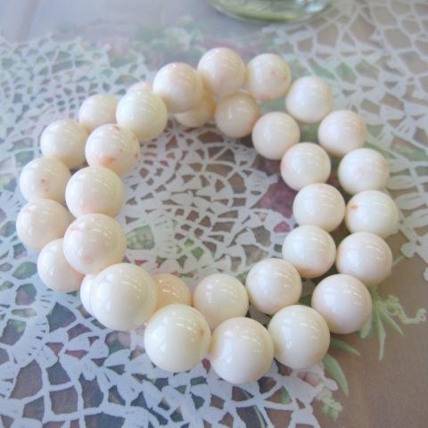 『大粒』ミッド珊瑚のブレスレット/約12ミリ/ゴムブレス/『宝石サンゴ』