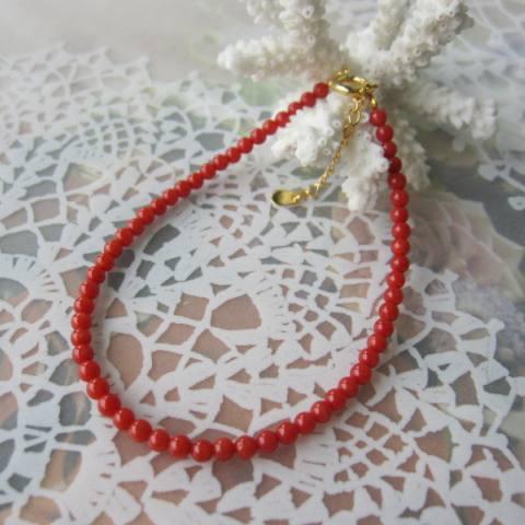 美しいイタリア産赤珊瑚のブレスレット 3ミリ玉SILVER サルジ 古渡 さんご・サンゴUzVSMpqG