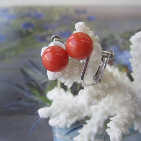 イタリア産赤珊瑚のイヤリング(7.2mm)/K14WGイヤーアクセサリー・「宝石サンゴ」