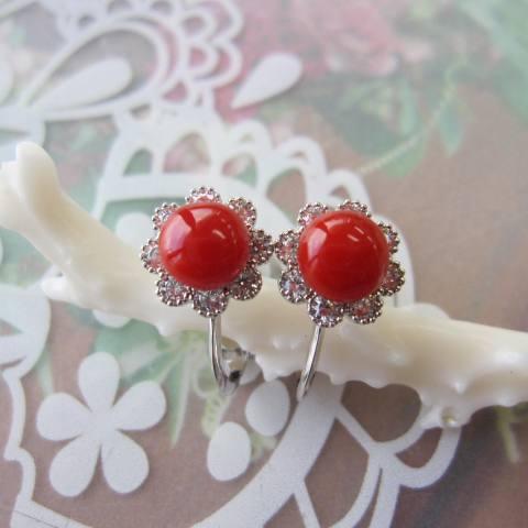 高知産血赤珊瑚のイヤリング//SILVER/キュービックジルコニア/お花/『宝石サンゴ』